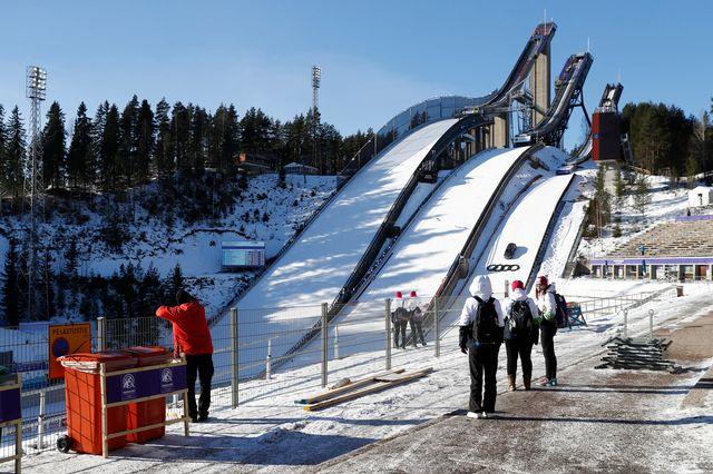 Les tremplins de saut à ski au Mondiaux de Lahti en Finlande, 21 février 2017. [Peter Klaunzer - Keystone]