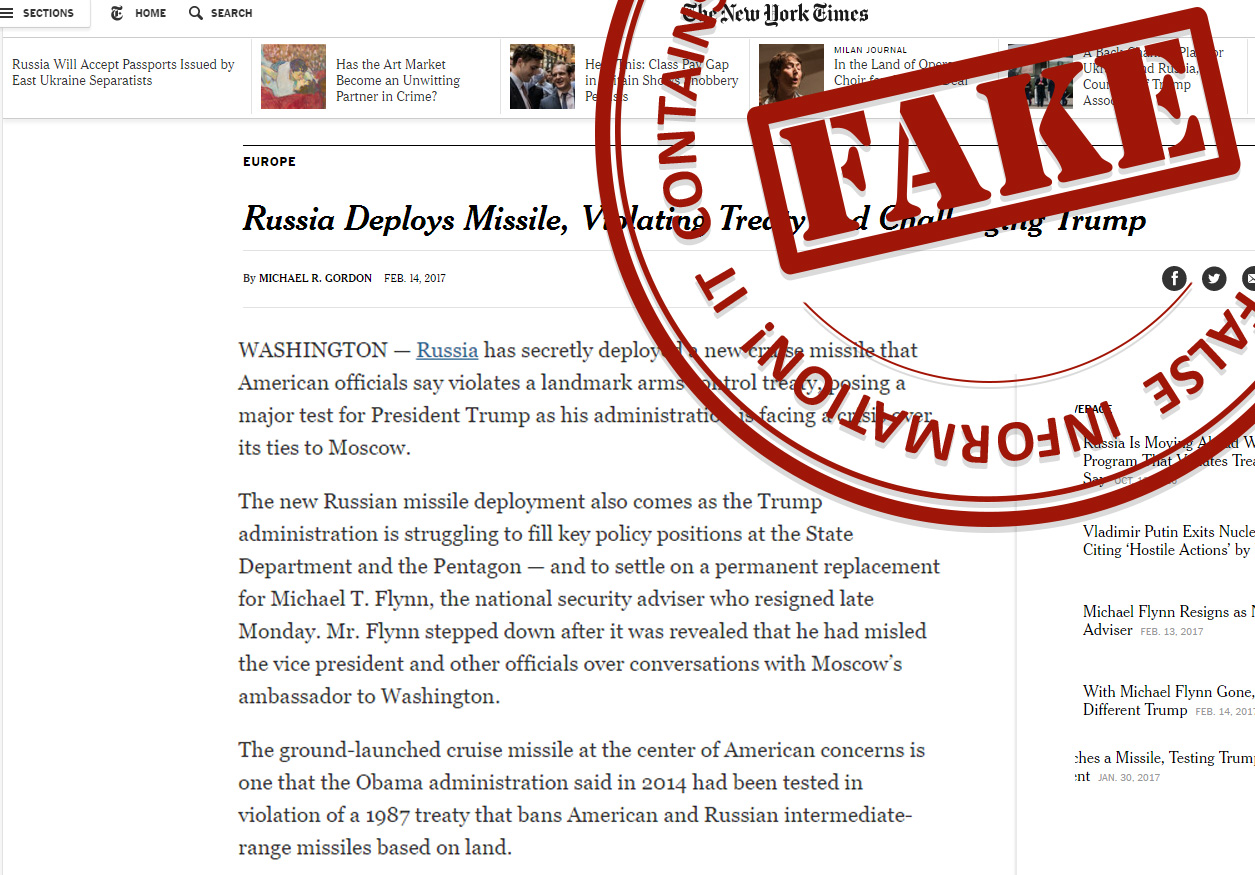 "Capture d'écran d'un article du New York Times avec le tampon ""Fake"" du Kremlin."