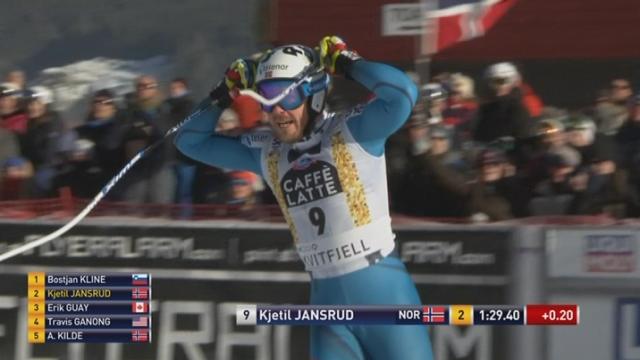 Descente messieurs: Kjetil Jansrud (NOR) sur la 3e marche du podium [RTS]