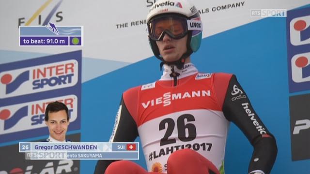 Mondiaux de Lahti (FIN): saut à ski, qualifications, petit tremplin, HS 100: Gregor Deschwanden (SUI) [RTS]