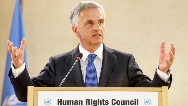 Didier Burkhalter à l'ouverture de la 34e session du Conseil des droits de l'homme. [Salvatore Di Nolfi - keystone]