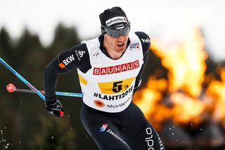 Dario Cologna en action aux championnats du monde de ski nordique de Lahti, en Finlande. Peter Klaunzer EPA Keystone  [Peter Klaunzer - EPA Keystone ]