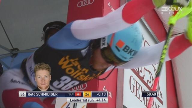 Kranjska Gora (SLO), Slalom 2e manche: Reto Schmidiger (SUI) [RTS]