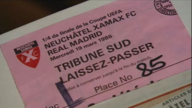 Billet du match Neuchâtel Xamax contre Real Madrid. [TSR, 1986]