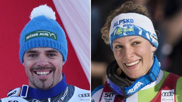 Peter Fill et Ilka Stuhec ont dominé le 2e entraînement en vue de la descente de mercredi. [A.Warmuth/J.C Bott - Keystone]