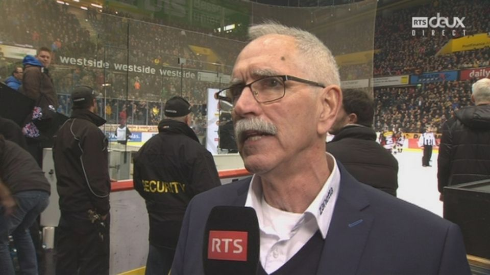 Playoffs LNA, 1-4 acte V: l'interview de l'entraîneur du HC Bienne, Mike McNamara [RTS]