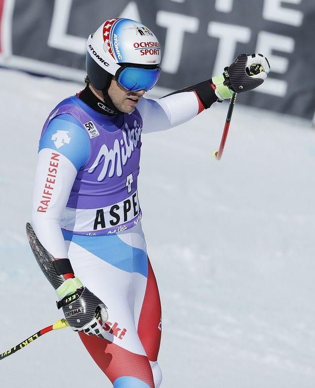 Mauro Caviezel monte pour la 1re fois sur le podium avec cette 3e place au super-G d'Aspen. [John G. Mabanglo - Keystone]