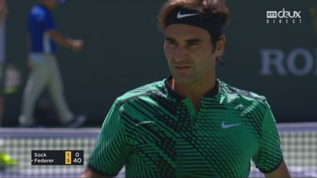 Indian Wells (USA), ½, J.Sock (USA) – R.Federer (SUI) 1-6 [RTS]