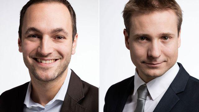 Mathias Reynard et Philippe Nantermod. [Gaëtan Bally - Keystone]