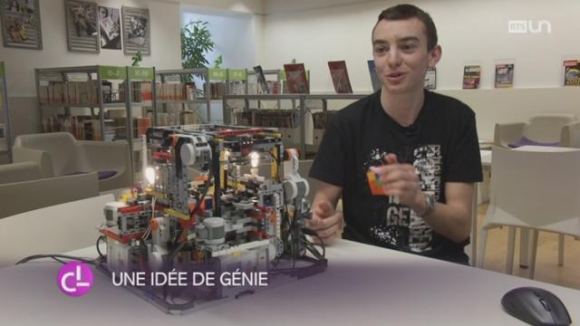 JU: un étudiant de Porrentruy a construit un robot capable de résoudre un rubik's cube [RTS]