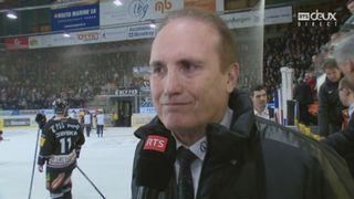 Playout LNA, finale acte V: Fribourg – Ambri 5-2, la réaction de Larry Huras [RTS]