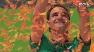 Miami (USA), finale, R. Federer (SUI) bat R. Nadal (ESP) 6-3 6-4: Federer au micro et la remise du trophée [RTS]