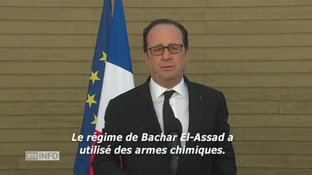 """Pour François Hollande, les frappes américaines en Syrie sont une """"réponse"""" [RTS]"""