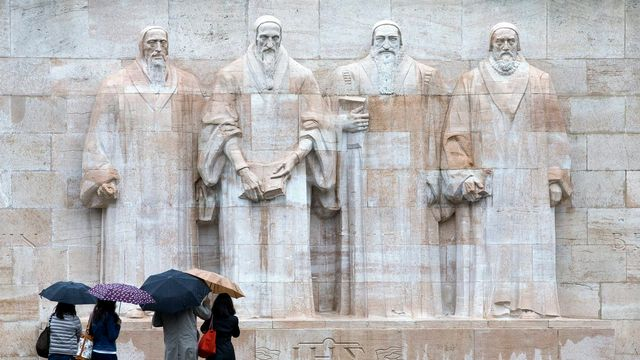 Le mur de la Réforme à Genève. [Salvatore Di Nolfi - Keystone]
