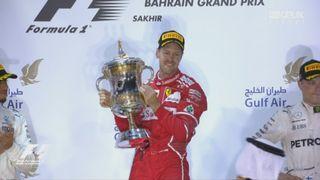 GP de Barheïn: la joie de Vettel (GER) sur le podium [RTS]