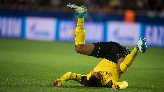 A l'image du joueur de Dortmund Pierre-Emerick Aubameyang face à Monaco, les équipes allemandes chutent en avril 2017 en Ligue des Champions. Bernd Thissen/DPA AFP [Bernd Thissen/DPA - AFP]