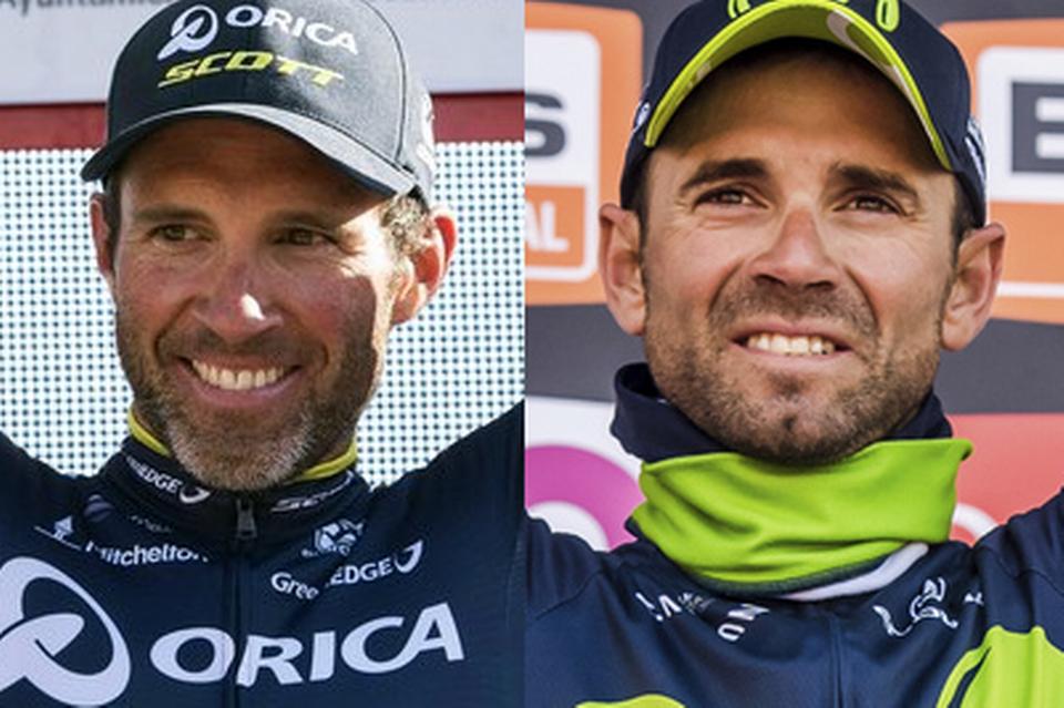 Albasini, le Thurgovien, à gauche, sera un outsider pour Liège - Bastogne- Liège, Valverde est lui le grand favori (à droite). [Adrian Ruiz De Hierro/Geert Vanden Wijngaert - Keystone]