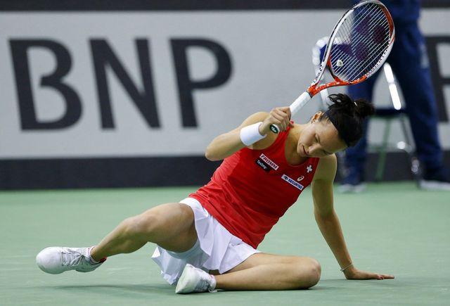 Viktorija Golubic frustrée lors de son match contre Sabalenka en demi-finale de Fed Cup. [Tatyana Zenkovich - Keystone]