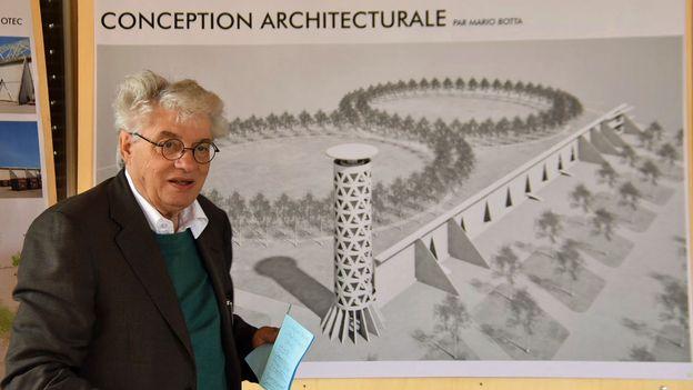 Une œuvre de Mario Botta projetée sur l'ancienne décharge de Bonfol