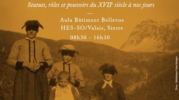 """L'affiche du colloque """"L'histoire des femmes en Valais"""" à la HES-SO de Sierre. [via-mulieris.ch/colloque-2017]"""