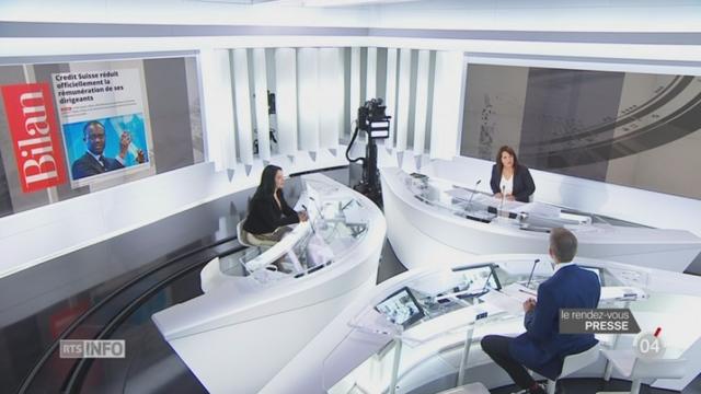 Rendez-vous de presse: les bonus des dirigeants de Crédit Suisse créent le débat [RTS]