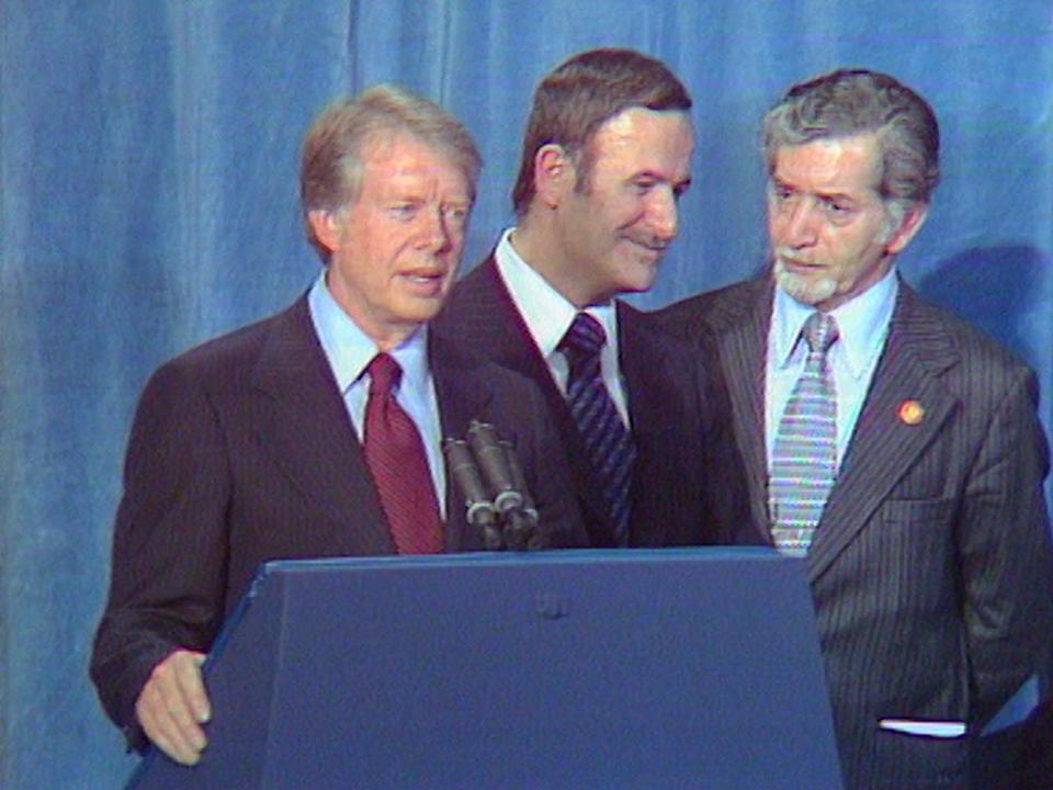 Rencontre entre les présidents Jimmy Carter et Hafez el Assad en 1977. [RTS]