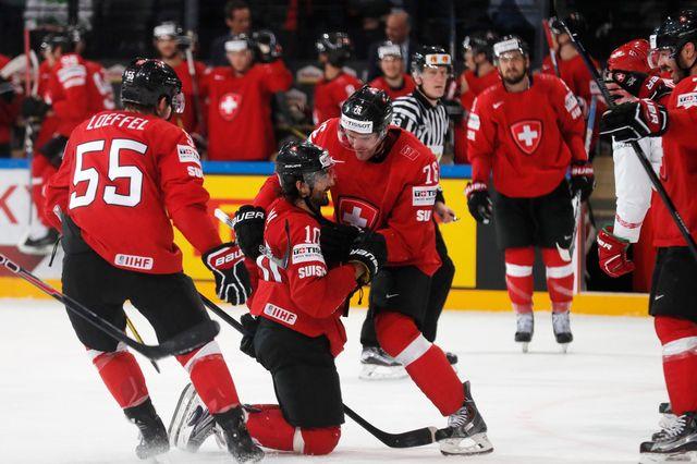 L'équipe suisse lors des Championnats de monde de hockey à Paris le 10 mai 2017. Thomas Samson AFP [Thomas Samson - AFP]
