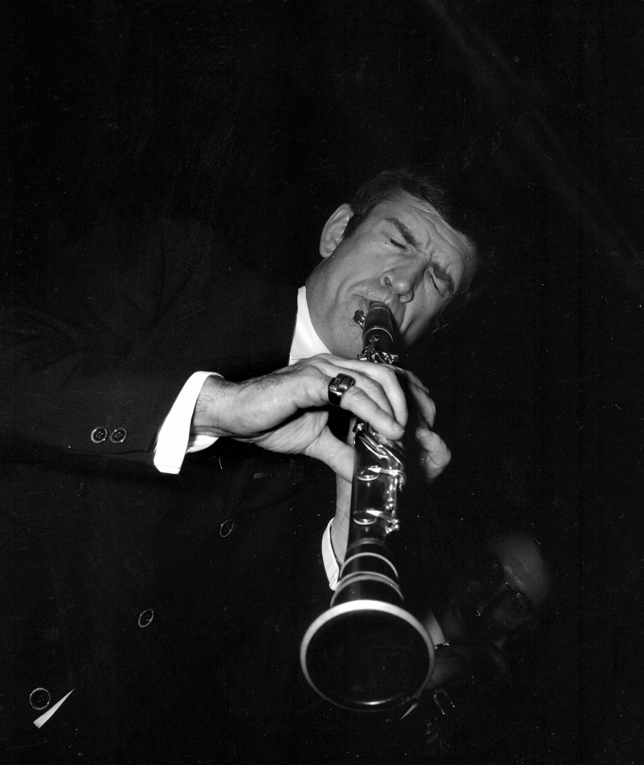 Claude Luter, clarinettiste de jazz français. Paris, 1962.