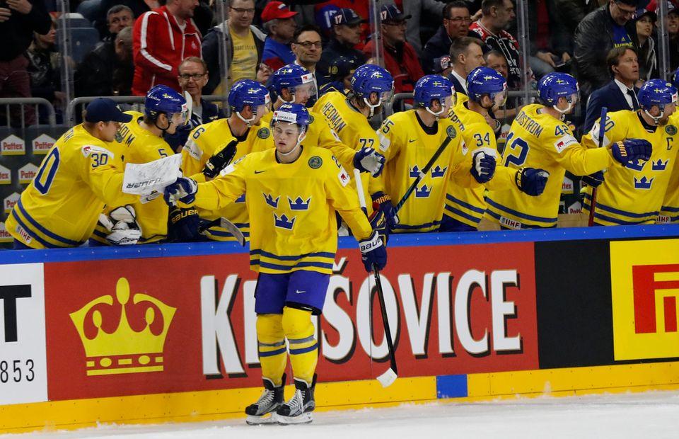 Les Suédois ont été impressionnants sur la glace de Cologne. [Petr David Josek - Keystone]