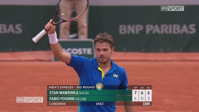 Roland-Garros, 3e tour: Wawrinka (SUI) – Fognini (ITA) 7-6 6-0 6-2 [RTS]
