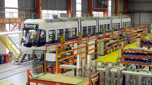 Vue de l'atelier de l'entreprise Bombardier à Villeneuve. [Dominic Favre - Keystone]