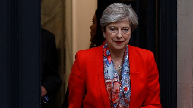Theresa May quittant le siège du Parti conservateur. [Peter Nicholls - Reuters]