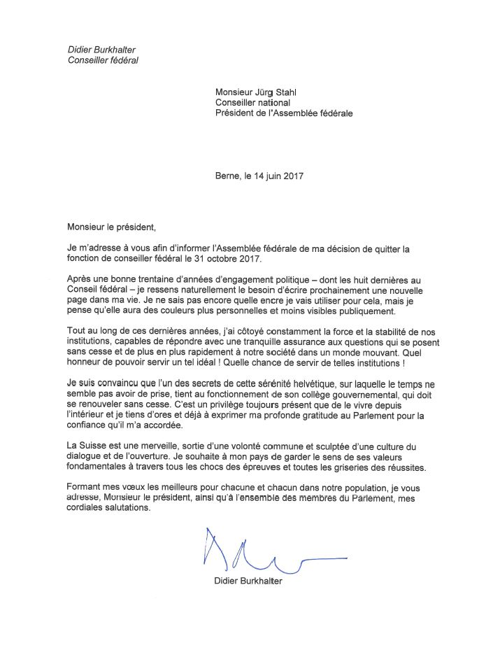 lettre de démission suisse La lettre de démission de Didier Burkhalter   rts.ch   Suisse lettre de démission suisse