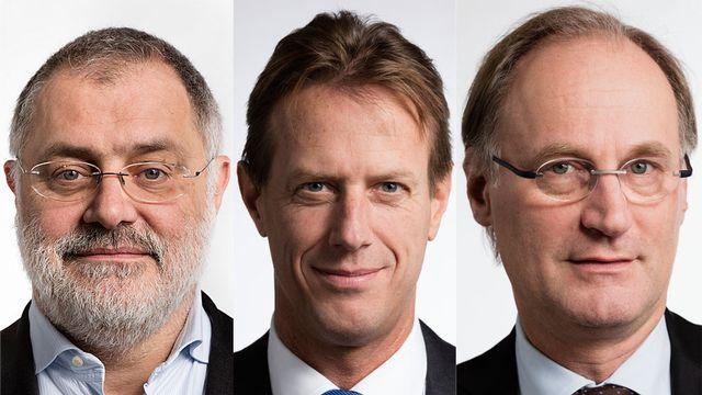 Carlo Sommaruga, Christian Lüscher et Yves Nidegger. [Gaetan Bally - Keystone]