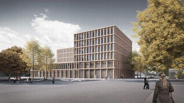 Maquette du nouvel Hôtel judiciaire de La-Chaux-de-Fonds. [Isler Gysel Architekten - DR]