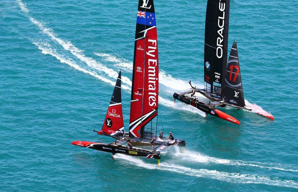 Team New Zealand a une nouvelle fois pris le meilleur sur les Américains. [Gilles Martin-Raget - Keystone]