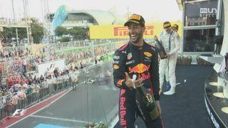 GP d'Azerbaïdjan: la joie de l'Australien après sa victoire [RTS]