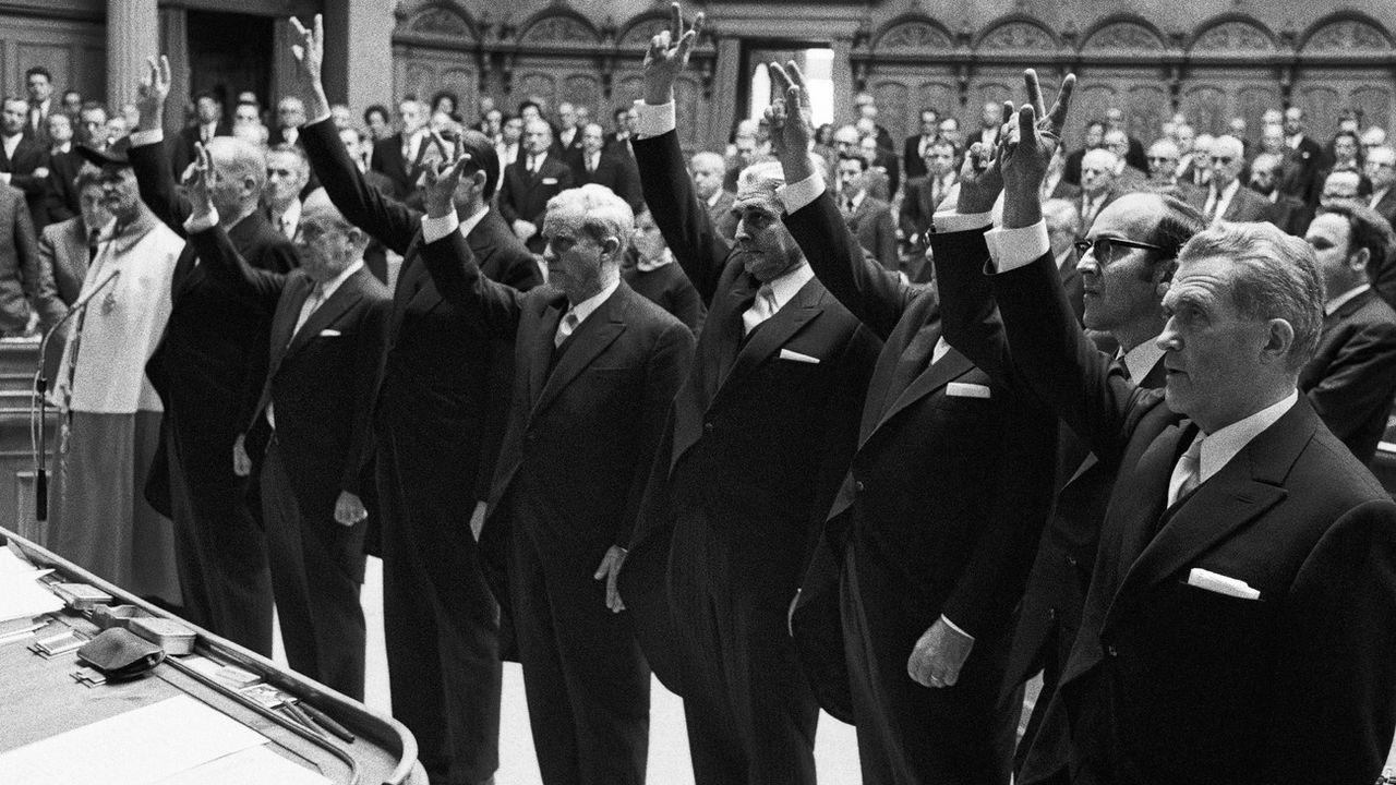 Prestation de serment du conseil fédéral en 1971 [Keystone]