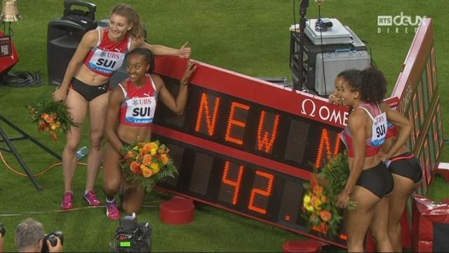 Relais 4x100m: le relais suisse remporte la course et signe le record de Suisse (42.53)! [RTS]