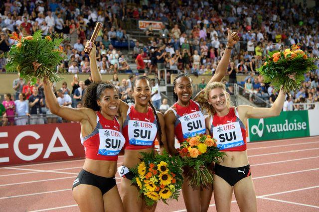 Le quatuor helvétique a réalisé une performance qui le place dans l'élite mondial du 4 x 100 m. [Jean-Christophe Bott - Keystone]