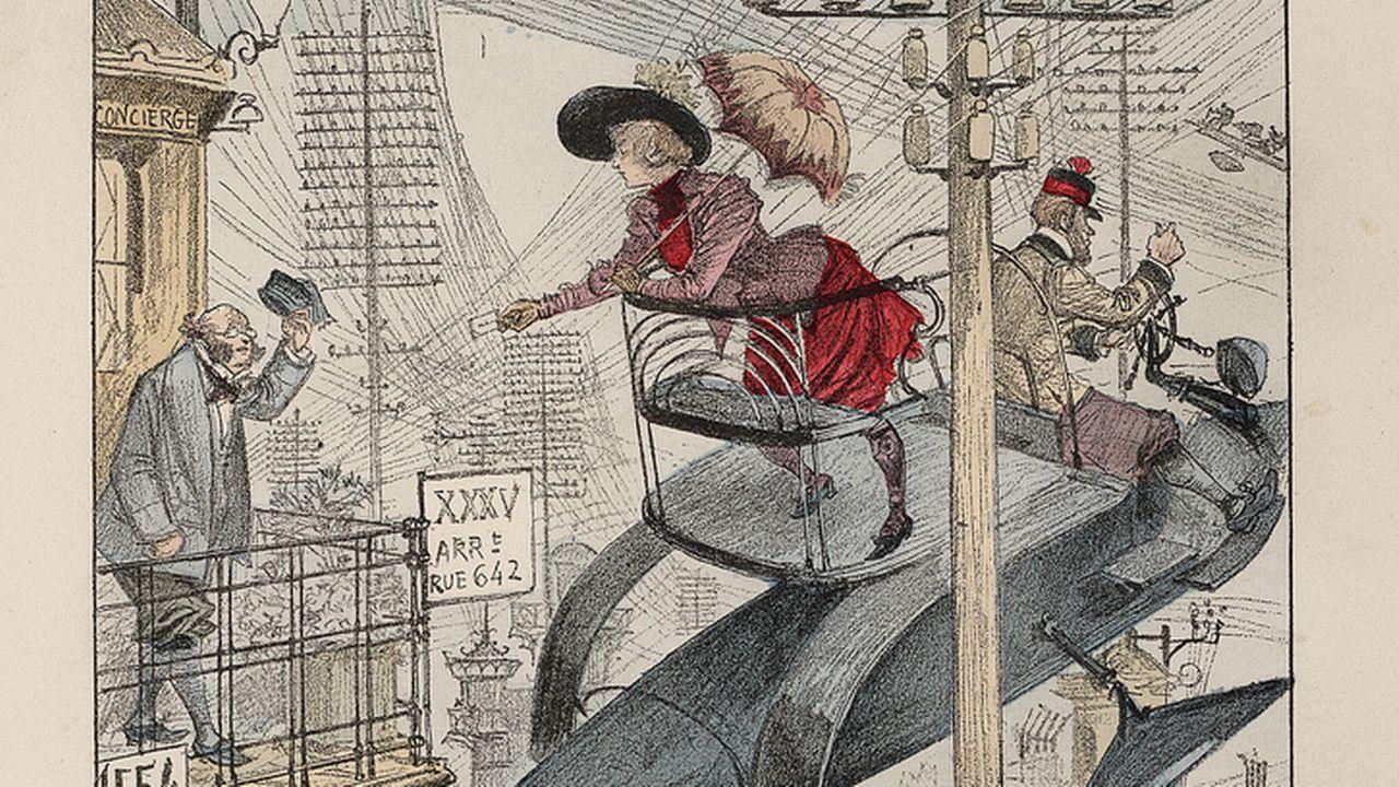 """La couverture de la BD """"Le vingtième siècle: La vie électrique"""" d'Albert Robida. [La Librairie Illustrée/Flickr]"""