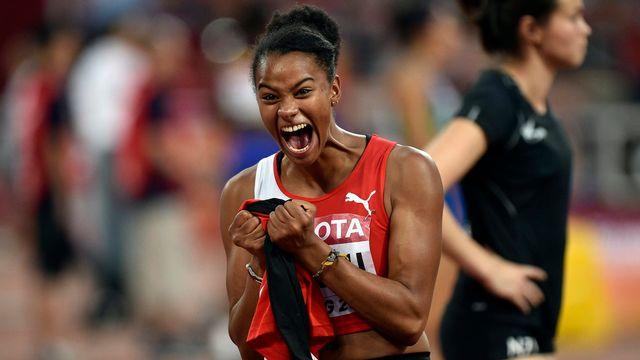 Caroline Agnou a pulvérisé le record de Suisse de l'heptathlon. [Franck Robichon - Keystone]