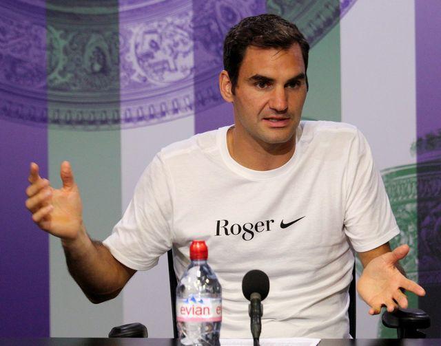 Roger Federer en conférence de presse après son succès à Wimbledon. [David Levenson - Keystone]