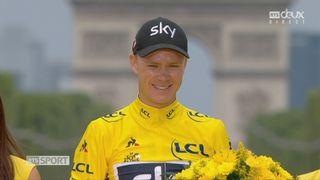 Tour de France, 21e étape: la joie de Christopher Froome (GBR) sur le podium [RTS]