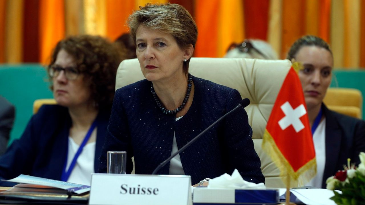 Simonetta Sommaruga lors de la conférence ministérielle sur la crise migratoire en Méditerranée. [Mohamed Messara - EPA/Keystone]