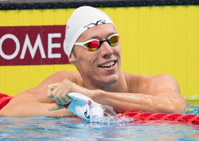 Jérémy Desplanches a le sourire après sa qualification en finale du 200 m quatre nages. [Patrick B. Kraemer - Keystone]