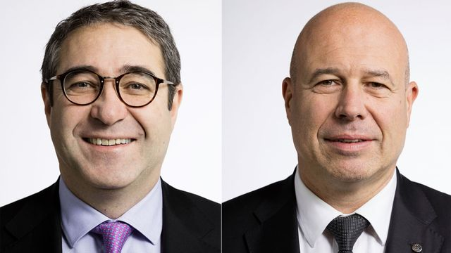 Frédéric Borloz et Fabio Regazzi. [Gaëtan Bally - Keystone]