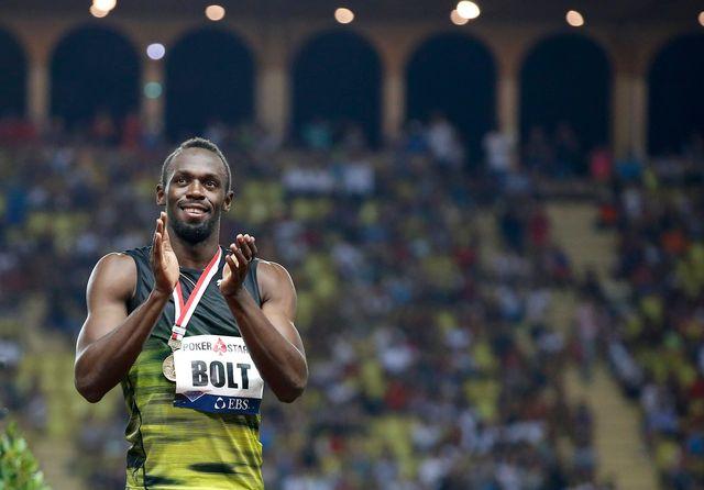 Usain Bolt au meeting de Monaco, 21.07.2017. [Sébastien Nogier - EPA/Keystone]