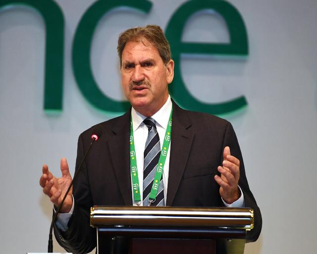 David Haggerty, président de l'ITF, n'a pas caché sa déception après les décisions de l'assemblée. [ITF (compte officiel ITF sur Twitter)]