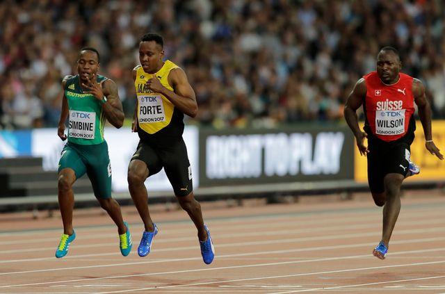 Alex Wilson (à droite) a dû se contenter d'une cinquième place dans sa série. [Timi Ireland - Keystone]